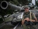 Ukrajinský voják ve městě Siversk (13. července 2014)