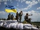 Ukrajinské jednotky ve městě Siversk (13. července 2014)