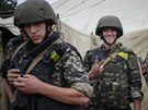 Příslušníci ukrajinské Národní gardy nedaleko Doněcku (15. července 2014)