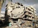 Zničený dům v Pásmu Gazy, policie tvrdí, že ho zasáhl izraelský vzdušný útok...