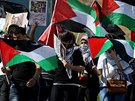 Palestinci demonstrují u města Nábulus na Západním břehu proti náletům...