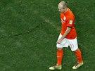 SMUTN� ODCHOD ZE H�I�T�. Arjen Robben u� v�, �e Nizozemsko do fin�le...