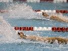 Michael Phelps (vlevo) a Ryan Lochte na mítinku v Athens na znakařské stovce.