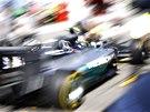 ROZMAZAN� UM�N�. Nico Rosberg b�hem tr�ninku na Velkou cenu N�mecka.