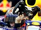 SUNDAT VOLANT. Sebastian Vettel b�hem tr�ninku na Velkou cenu N�mecka.