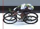Matteo Trentin (v popředí) porazil Petera Sagana ve spurtu sedmé etapy Tour de...