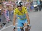 Nositel žlutého trikotu Vincenzo Nibali na startu 14. etapy Tour de France