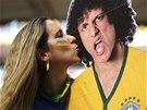 ZAMILOVANÁ DO PAPÍROVÉHO DAVIDA LUIZE. Brazilská fanynka před utkáním s