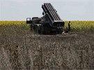 Raketomet poblíž východoukrajinského města Seversk. Zda raketu na ruské území