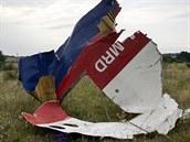 Část malajsijského letounu, který byl sestřelen na východě Ukrajiny (19....
