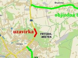 Trasa obj��ky vedouc� p�es Dobrou, Pardernu a Bruzovice.