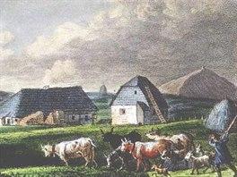 Luční bouda kolem roku 1850 na kolorované litografii  Theodora Sachse (KM