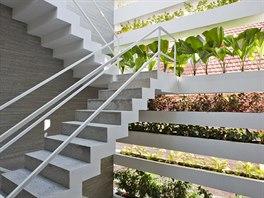 Prostor schodiště v Domě se zelenou fasádou.