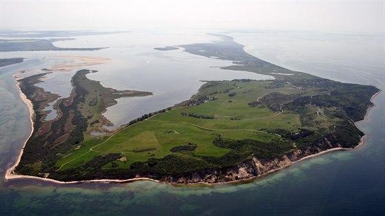 Letecký pohled na severní část ostrova Hiddensee