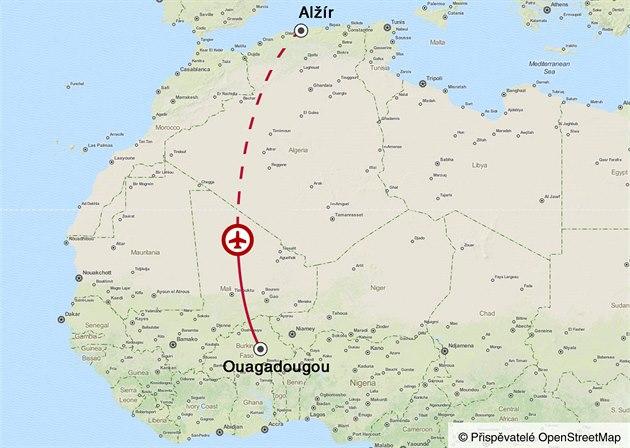 Trasa letu AH 5017 ze západoafrické Burkiny Faso do Alžíru.
