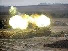 Izraelské dělostřelectvo na hranici Gazy (28. července 2014)