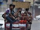 Palestinci opuštějí své domovy (20. července 2014).