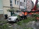 Hasiči pomáhají odklidit kmen spadlý na auto v Českých Budějovicích. Jen v...