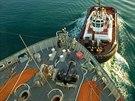 Americká loď Cape Ray v italském přístavu Gioia Tauro