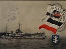 SMS Goeben na německé propagační pohlednici.