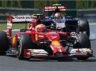 NESTAČIL. Kimi Räikkönen s vozem Ferrari v kvalifikaci Velké ceny Maďarska F1.
