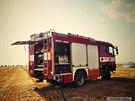 Při požáru u Hrdibořic na Prostějovsku hořelo na 25 hektarech pole připraveného...