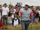 JE TAM. Rory McIlroy se raduje z �sp�n� r�ny na golfov�m British Open.