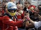 UBR�N�NO. Fernando Alonso slav� druh� m�sto ve Velk� cen� Ma�arska.
