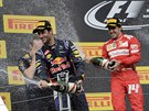 SPRCHA. Daniel Ricciardo a Fernando Alonso slaví na stupních vítězů povedený...