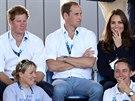 Princ Harry, princ William a jeho manželka Kate sledují ženský pozemní hokej na...