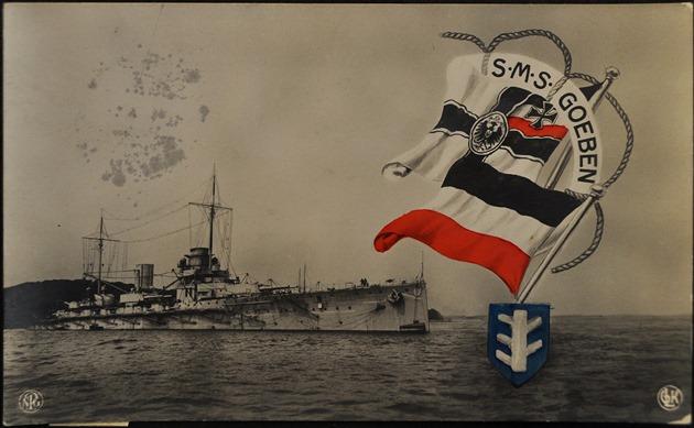 SMS Goeben na n�mecké propaga�ní pohlednici.