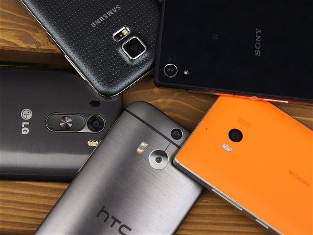 HTC One M8, LG G3, Nokia Lumia 930, Samsung Galaxy S5 a Sony Xperia Z2