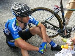 Vyčerpaný Leopold König v cíli 17. etapy Tour de France