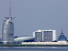 Moderní panoráma Bremerhavenu (Havenwelten)
