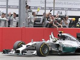 Nico Rosberg s Mercedesem slaví triumf ve Velké ceně Německa.
