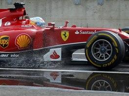 �pan�lsk� pilot Fernando Alonso bojuje o v�t�zstv� ve Velk� cen� Ma�arska na...