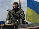Hlídka ukrajinské armády u vesnice Dolbatseve (30. července 2014)