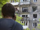 Boji poni�en� domy v Don�cku (Ukrajina, 29. �ervence 2014).