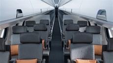 Designerské studio Priestmangoode navrhlo interiér nového letadla Embraer E2.