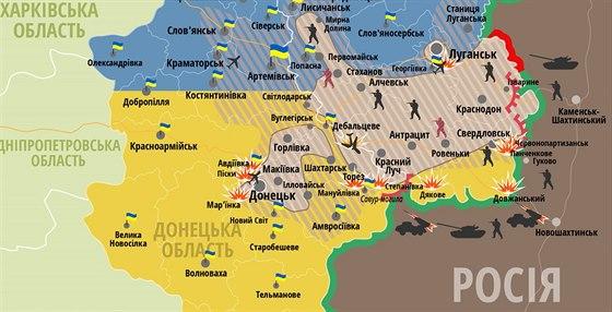 Situace v Donbasu k 2. srpnu na map� zve�ejn�n� velen�m ukrajinsk� arm�dy.