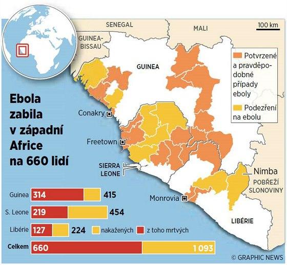 Rozšíření eboly v západní Africe