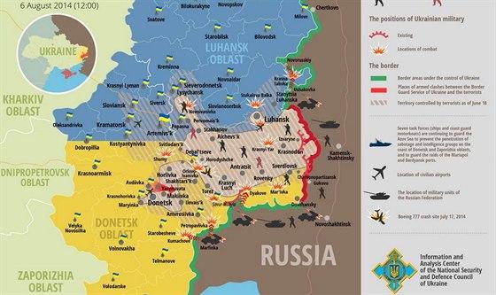 Situace na východě Ukrajiny na mapě zveřejněné ukrajinskou armádou (6. srpna...