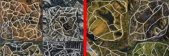 Vlevo koridory nových map, vpravo starých. Rozdíl v počtu je evidentní.
