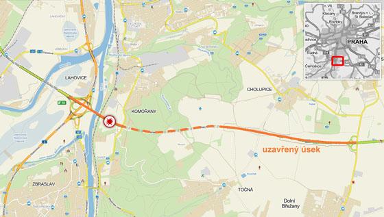 Tragick� nehoda u Cholupick�ho tunelu na Pra�sk�m okruhu. (7. srpna 2014)