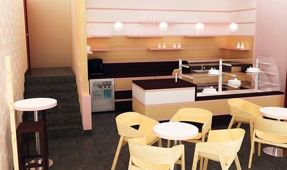 Návrh cukrárny: stěna za obslužným pultem má připomínat piškotový řez. Židlová