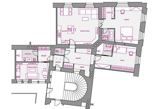 Varianta 2 - vstup do garsonky i bytu majitel� je ze spole�n�ho prostoru