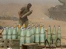Izraelsk� d�lost�eleck� jednotka na hranici P�sma Gazy (1. srpna 2014)
