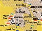 Situace v Donbasu k 2. srpnu na mapě zveřejněné velením ukrajinské armády.