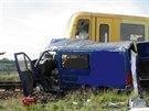Vlak se srazil s dodávkou ve Strážnici na Hodonínsku (7. srpna 2014).