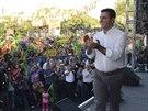 Prezidentský kandidát Demirtas během předvolebního setkání (8. srpna 2014).